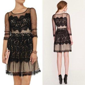 Alice By Temperley Black Nude Lace Sheer Dot Long